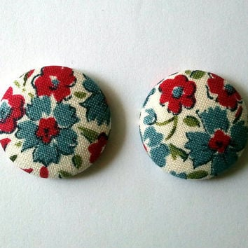 Blue and red floral earrings by ButtonUpp on Etsy