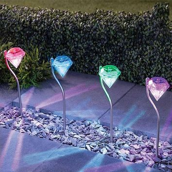 4pcs Outdoor LED Solar Light Garden Decoration Lamps LED Diamonds Lawn Light Solar Powered Path Stake Lanterns Lamp Home Decor