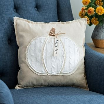 Hello Fall Cable Knit Pumpkin Pillow