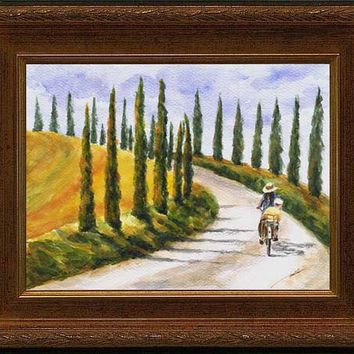 Byway,  Val d'Orcia, Tuscany, Italy; original watercolor painting, 9x12 inches