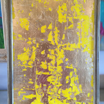 Gold Leaf Painting, Abstract Painting, Original Art, 18x24 Canvas Panel, Yellow Painting, Gold Painting, Yellow Wall Art, Gold Wall Art, Art