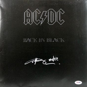 DCCKJNG Angus Young Signed Autographed 'Back in Black' AC/DC Record Album (PSA/DNA COA)