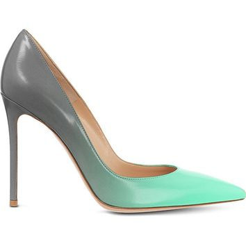Posh Girl Turquoise Ombre Stiletto Leather Pumps