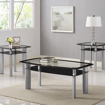 Astro Silver & Glass Coffee Table Set