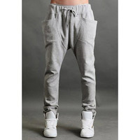 Gray Stereo Pocket Summer Harem Pants