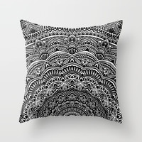 Zen Black and white mandala Sophisticated ornament Throw Pillow by maria_so