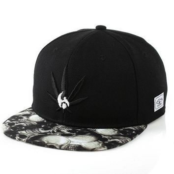 PEAPIX3 Korean Ladies Skull Embroidery Leaf Hip-hop Baseball Cap Hats [4989703044]