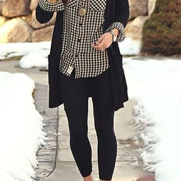 Black Plain Pockets Collarless Streetwear Acrylic Cardigan Sweater