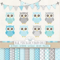 Baby Owl Clip Art for Nursery, Baby Shower. Baby Boy Digital Paper. Banners in Blue, Gray, Mint. Pastel Chevron, Polka Dot, Heart Patterns