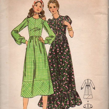 Butterick 70s Sewing Pattern 6194 Prairie Peasant Dress Boho Hippie Style Maxi Length Puff Sleeves High Neck Ruffle Hem Bust 32