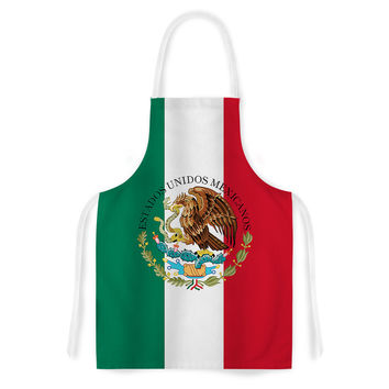 "Bruce Stanfield ""Mexico Flag And Coat Of Arms"" Red Green Artistic Apron"