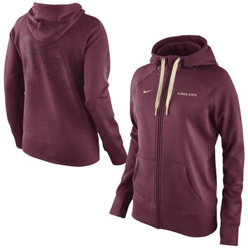 Florida State Seminoles Nike Women's Warp All Time Full Zip Performance Hoodie - Garnet