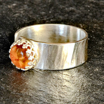 Hammered Sterling Silver Artisan Ring with Organic Amber Stone