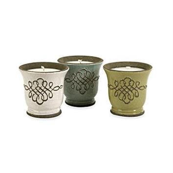 3 Ceramic Candles - Candles Come In White Blue And Green