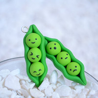 Kawaii Peas in a Pod Polymer Clay Charms - Kawaii Peapod Charms (Pair)