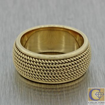 Vintage 14k Yellow Gold Mens Womens Wide Weave Heavy Wedding Band Ring 16.1g