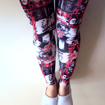 Rolling Stones Leggings Yoga Fitness Workout Beach Dancing Pants Grafitti Print Tights Streetwear Indie Rock Punk Leggings