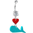 Turquoise Acrylic Heart Whale Belly Ring | Body Candy Body Jewelry