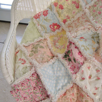 Handmade Sweet Baby Rag Quilt, Shabby Chic Dreamy Pastels, Pink Mint Blue Yellow Peach