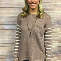 Mocha Striped Blouse with Pocket