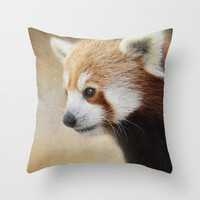Red Panda Watching - Wildlife Throw Pillow by Jai Johnson