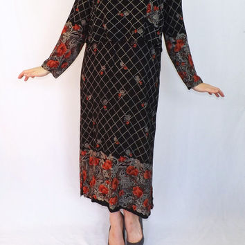 Vintage 1980s does 1920s 30s Style Black Rose Floral Maxi Lawn Day dress Great Gatsby Marie Clare Fashion Size 12 Country Folk Winter Fall