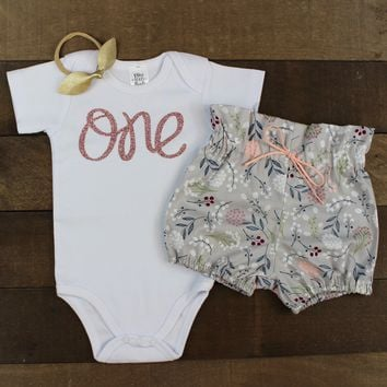 Rose Gold One Gray Bloomers Outfit
