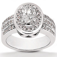 2.51 ct. diamonds solitaire ring with accents big gold