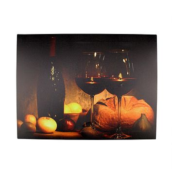 "LED Lighted Flickering Wine  Bread and Candles Canvas Wall Art 11.75"" x 15.75"""