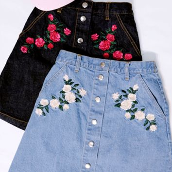 LOW STOCK! Floral Denim Skirts