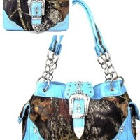 Western Belt Buckle Purse Camouflage Handbag Camo Blue Trim W Matching Wallet
