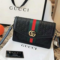 GUCCI Popular Women Classic Red Green Stripe Leather Shoulder Bag Crossbody Satchel Black