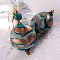 Teal and Metallic Copper Lampwork Bead Earrings - Swirled Design - Autumn - Fall - Holiday