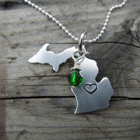 Metal stamped Michigan Necklace - Michigans upper and lower peninsula necklace - Swarovski crystal - hand stamped