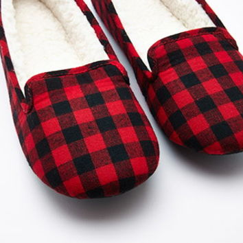 Gingham Faux Shearling Slippers