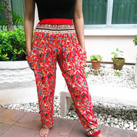 High Waist Red Flower Yoga Pants Printed Beach Hippie Massage Rayon pants Gypsy Thai Clothing Women Tribal Hippie Skirt Dress Fisherman