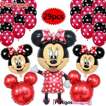 29pcs 110CM Minnie Mickey mouse head foil balloons red birthday party Decor 12 inch Polka Dot Latex Balloon baby shower