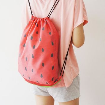 U-PICK Original 100% Polyester Fruit Pattern Women Drawstring Backpack for Book Clothes Travel Drawstring Bag More Style