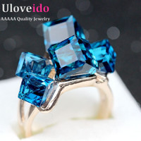 Rose Gold Finger Topaz Jewelry Woman's Engagement Crystal Square Ring Women Anillos Punk  Zirconia Bridal Bague Femme 2017 GR123