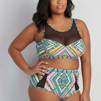 80s High Waist Sunbeam Me Up! Swimsuit Top - 1X-3X