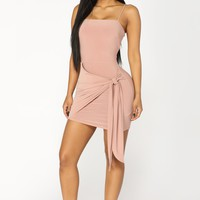 Knot Waiting For You Mini Dress - Mauve