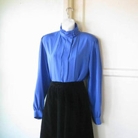 Cornflower Blue High Neck Pleated Top; Women's Medium Drapy Long-Sleeve Pleated Blue '80s Blouse;  New Vintage w/ Tags