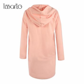 TissarLG wool and blends coat women winter solid hooded jackets femail long outwear