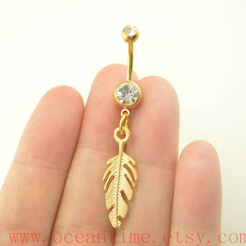 BellyButton Rings,gold feather Navel Jewlery,feather belly button ring,friendship belly button jewelry,oceantime