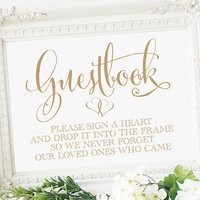 Guestbook Please Sign a Heart Sign - 5 x 7 sign - Instant Download - DIY Printable Sign - 'Bella' antique gold script -  PDF and JPG files