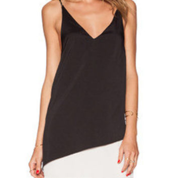 Black White Spaghetti Strap Color Block Dress