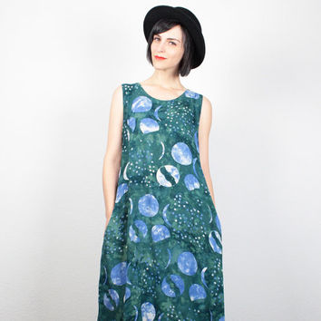Vintage 90s Dress Green Blue MOON Sun Batik Print Sundress Tribal Hippie Dress 1990s Dress Soft Grunge Dress Tie Dye Midi Dress M L Large XL
