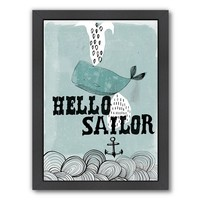 Americanflat Paula Mills ''Hello Sailor'' Framed Wall Art