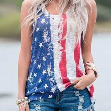 Blue The Stars And Striped Print American Flag Independence Day Casual Vest