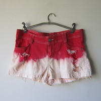 Ombre Low Rise Denim Shorts -- Distressed, Frayed // Bleached Dip Dye Red & White -- Grunge Revival Style